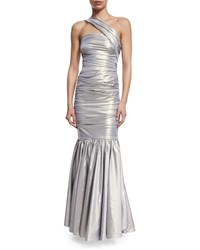 Talbot Runhof Kornati One Shoulder Ruched Gown Silver Metallic