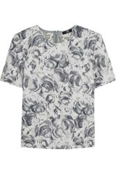 Markus Lupfer Textured Floral Brocade Top Light Gray