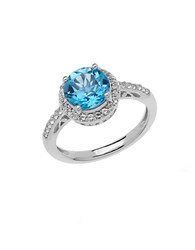 Lord And Taylor Sterling Silver Blue White Topaz Ring Blue Topaz Silver