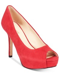 Nine West Qtpie Peep Toe Pumps Women's Shoes Red Suede