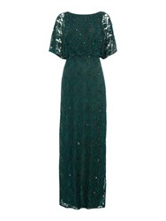 Ariella Lace Blouson Gown With Beading Bottle Green