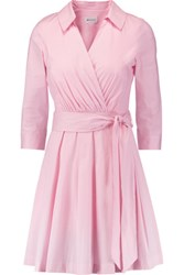 Milly Pleated Cotton Blend Mini Dress Baby Pink