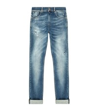 7 For All Mankind Ronnie Repaired Skinny Jeans Male Blue
