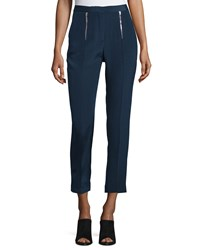 Cnc Costume National Zip Front Slim Leg Cropped Trousers Navy Women's