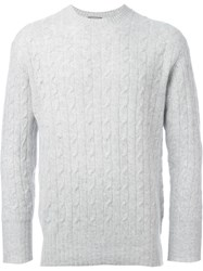 N.Peal 'The Thames' Cable Knit Sweater Grey
