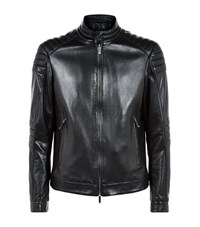 Boss Mercedes Benz Padded Leather Jacket Male Black