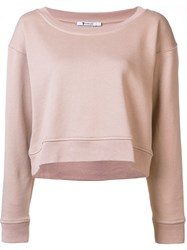 Alexander Wang T By Scoop Neck Sweatshirt Nude Neutrals
