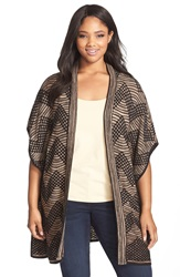 Nic Zoe 'Chevron' Long Open Front Cardigan Plus Size Brown Multi