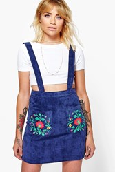 Boohoo Embroidered Cord Pinafore Dress Blue