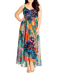 City Chic Hot Summer Days Floral Print Maxi Dress Coral