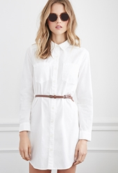 Forever 21 Belted Classic Shirt Dress White