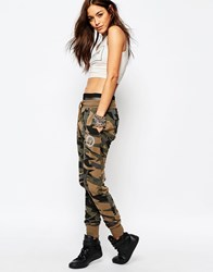 Criminal Damage Sweat Pants In Geo Camo Print Khaki Green