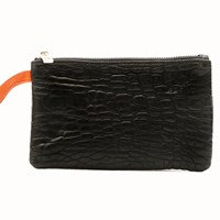 Freay Leather Rectangle Wristlet Pouch Black