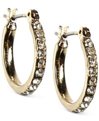 Anne Klein Gold Tone Pave Small Hoop Earrings