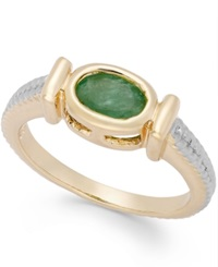 Victoria Townsend Emerald Cable Ring In 18K Gold Over Sterling Silver 3 4 Ct. T.W.