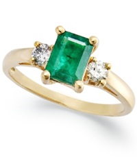Macy's 14K Gold Ring Emerald 3 4 Ct. T.W. And Diamond 1 5 Ct. T.W. 3 Stone Ring Green
