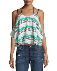 J.O.A. Joa Striped Split Strap Layered Tank Green Navy