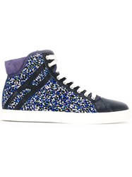 Hogan Rebel Sequin Panel Hi Top Lace Up Sneakers Blue