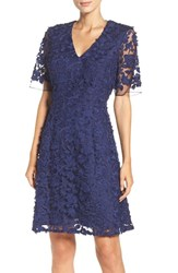 Adrianna Papell Women's Lace Mesh Fit And Flare Dress