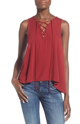 Women's Painted Threads Lace Up Tank Burgundy