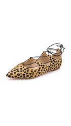 Loeffler Randall Ambra Haircalf Lace Up Flats Cheetah