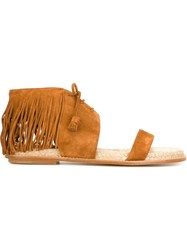 Paul Andrew Fringed Flat Sandals Brown
