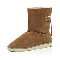 River Island Womens Brown Suede Faux Fur Lined Ankle Boots