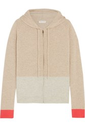 Chinti And Parker Color Block Cashmere Hooded Top Mushroom