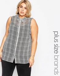 New Look Inspire Check Sleeveless Chiffon Shirt Blackpattern
