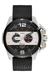 Diesel 'Ironside' Chronograph Leather Strap Watch 48Mm Black Silver