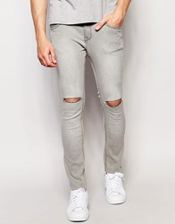 Pull And Bear Pullandbear Super Skinny Jeans In Grey With Knee Rips Grey