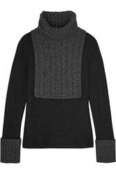 Tory Burch Gretchen Paneled Cable Knit Turtleneck Sweater Black