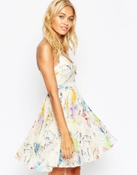 Asos Sheer And Solid Pleated Cami Mini Dress In Tropical Print Multi