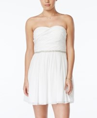 City Triangles City Studios Juniors' Embellished Pleated Bodice Party Dress White