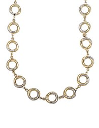 Lord And Taylor 14 Kt. Yellow Gold Circle Twist Necklace Two Tone Gold