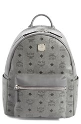Mcm Backpack 'Small Stark' Coated Canvas Backpack Grey