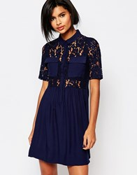 Vero Moda Lace Top Skater Dress Black Iris Navy