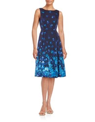 Adrianna Papell Floral Print Pleated Sleeveless A Line Dress Blue