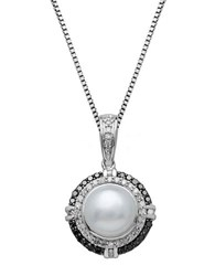 Lord And Taylor Freshwater Pearl Diamond Black Diamond Sterling Silver Pendant Necklace Pearl Silver