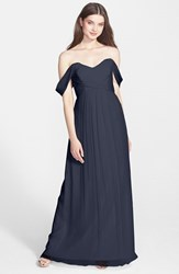 Amsale Women's Convertible Crinkled Silk Chiffon Gown Navy