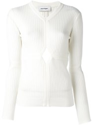 Courreges Cut Off Detailing Knit Blouse White