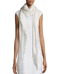 Fringe Trim Scarf White Metallic White Grey Peserico