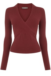 Oasis Rib Wrap Front Top Brown