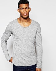 United Colors Of Benetton Long Sleeve Top In Oil Wash With Front Pocket Grey