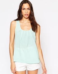 Vero Moda Sleeveless Tank Top With Pleated Front Bleachedaqua