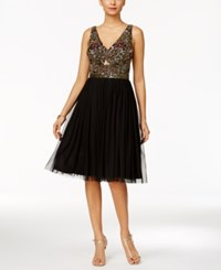 Adrianna Papell Embellished Tulle A Line Dress Black