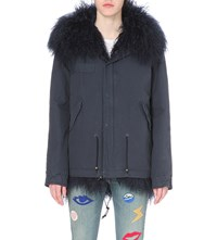 Mr And Mrs Italy Shearling And Cotton Twill Parka Coat Navy Blue