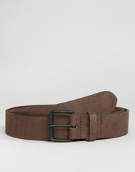 Asos Suede Belt With Texture Charcoal Grey