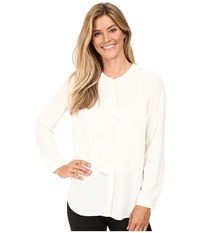 Vince Camuto Long Sleeve Ruffle Front Blouse Antique White Women's Blouse