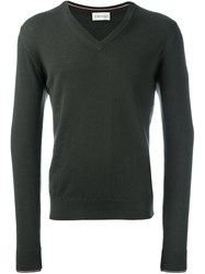 Moncler V Neck Sweater Green